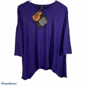 IMAN Purple & Silver Sparkle Shirt XS